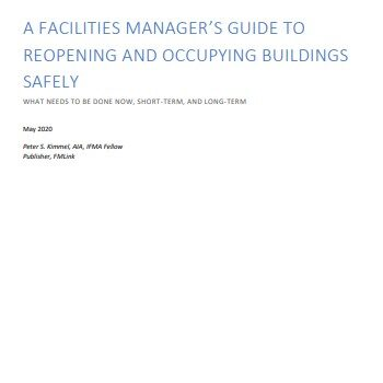 A Facilities Manager's guide to reopening and occupying buildings safely